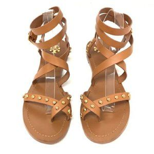 Tory Burch Size 10 Studded Tan Gladiator Sandals